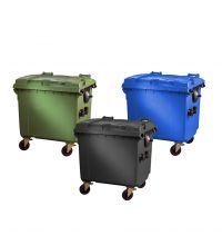 Container 1100 liter kunststof met deksel verrijdbaar