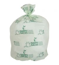 Afvalzak Happy Sacks Bio 30 liter 50 x 57 cm 15 my wit/groen